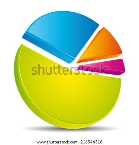 Colorful 3d pie on the floor. Vector diagram.  - stock vector
