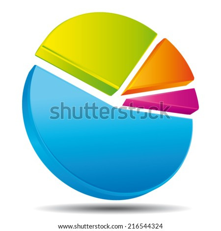 Colorful 3d pie. Vector icon.  - stock vector