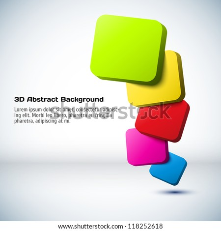 Colorful 3D rectangle background. - stock vector