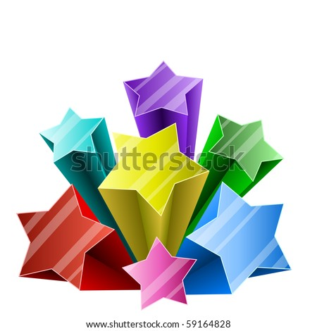 Colorful 3D star burst with white copy space. - stock vector