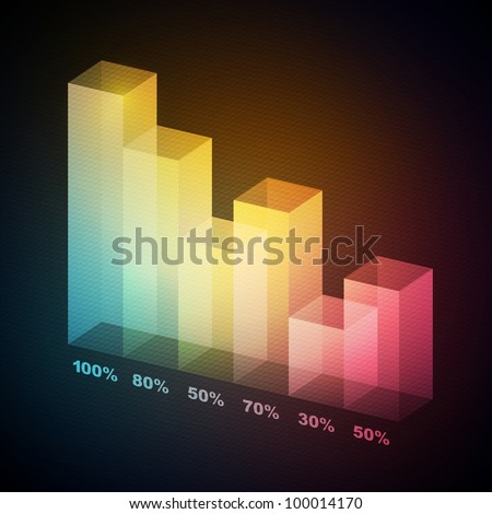 Colorful 3D statistics template, vector eps10 illustration - stock vector