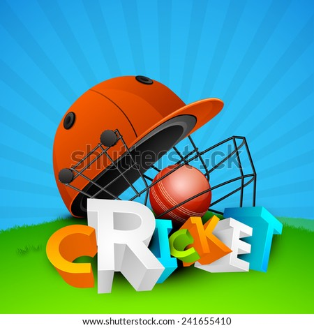 Colorful 3D text Cricket with sports helmet and red ball on rays background.  - stock vector