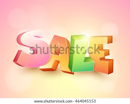 Colorful 3D Text Sale on shiny background, Creative Poster, Banner or Flyer design, Vector illustration.