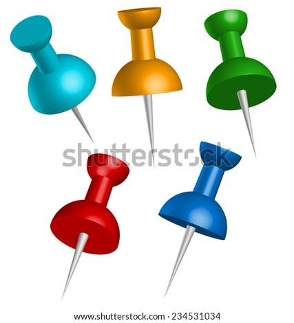 Colorful 3d thumbtacks or push pins - stock vector