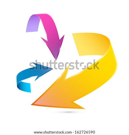 Colorful 3d Vector Arrows Isolated on White Background  - stock vector