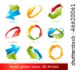 Colorful 3d vector arrows set - stock vector