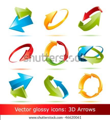 Colorful 3d vector arrows set - stock vector