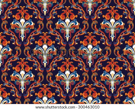 Colorful Damask Seamless Vector Pattern.  Elegant Design in Royal  Baroque Style Background Texture. Floral and Swirl Element. White, Orange, Blue Colors. Ideal for Textile Print and Wallpapers.