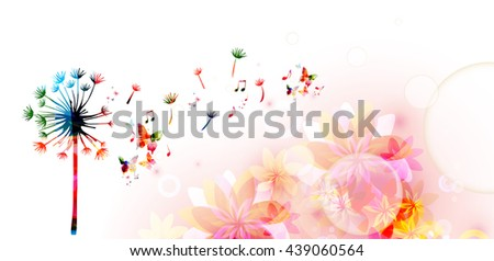 Colorful dandelion with butterflies - stock vector