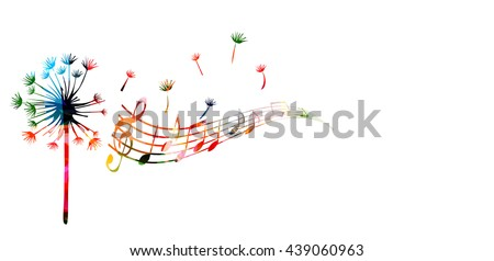 Colorful dandelion with music notes