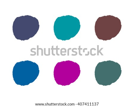 Colorful dark round paint stains, set isolated illustration background vector