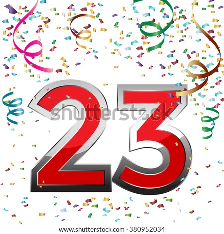 Colorful 23 date celebration background with confetti. Vector Illustration.