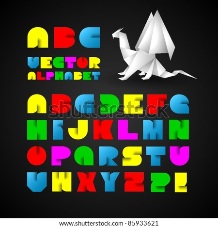 Colorful Decorative Alphabet With Origami Object - stock vector