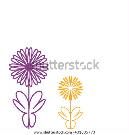 Colorful decorative background with abstract hand drawn flowers