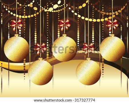 Colorful decorative Christmas golden balls, holiday ornaments. - stock vector
