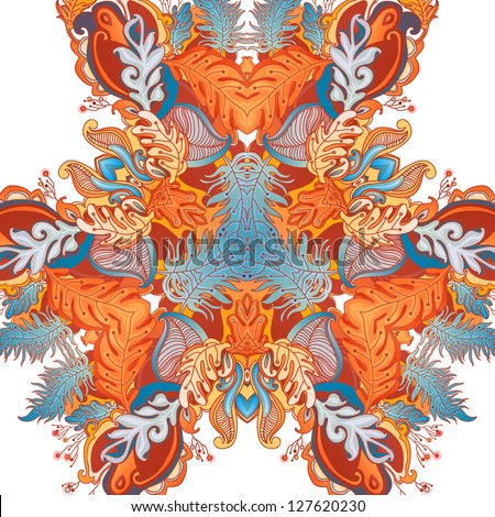 Colorful decorative floral background. fantastic flowers and lines - stock vector