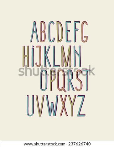 Colorful decorative vintage alphabet - stock vector