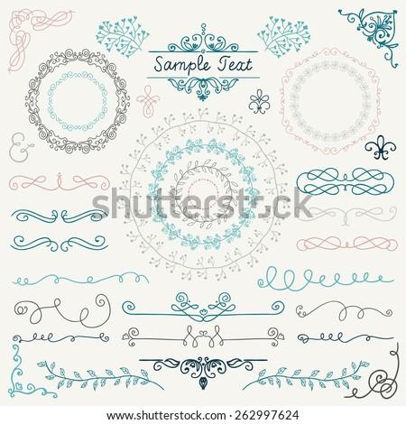 Colorful Decorative Vintage Hand Drawn Doodle Design Elements. Frames, Dividers, Swirls. Vector Illustration - stock vector