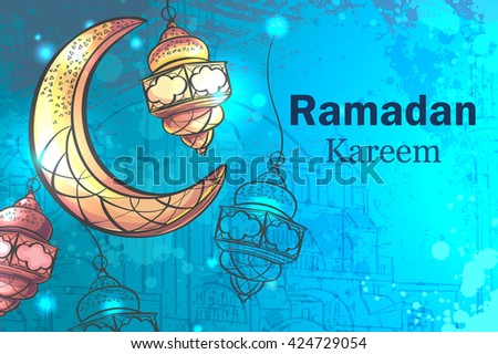 Colorful design is decorated with a crescent moon hanging lamps on the creative background to celebrate the Islamic holiday of Ramadan Kareem - stock vector