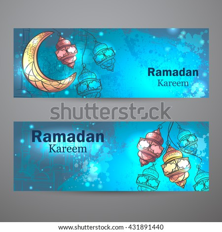 Colorful design is decorated with lamps and crescent moon horizontal banners on the creative background to celebrate the Islamic holiday of Ramadan Kareem