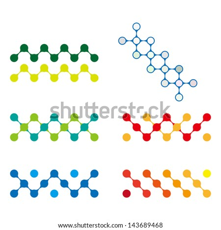 Colorful design molecule logo element. Abstract vector template set. You can use in biotechnology, energy, water and electricity equipment, computer medical science concept icon. - stock vector