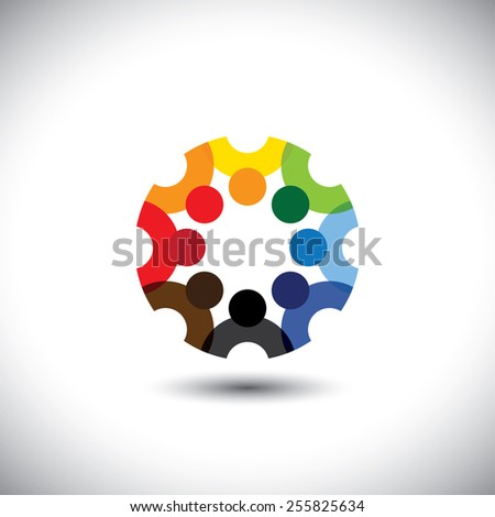Colorful design of a team of people or children icons. This vector logo template can represent group of kids together or employees in meeting, unity among people, etc. - stock vector
