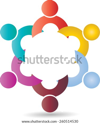 Colorful design of people symbols working as team & cooperating. This Vector can represent unity and solidarity in group or team of people, excellent teamwork. - stock vector