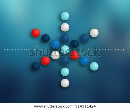Colorful Design Snowflake of Colored Circles on Blue Background, Vector Element for Design