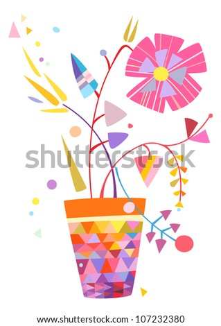 Colorful design with flowers in vase created in a very stylized and modern style. - stock vector