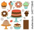 Colorful desserts collection. Vector illustration - stock