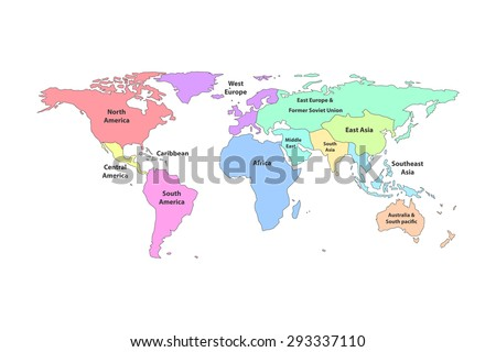Colorful detail world map regions with continent name , isolated on white background - stock vector
