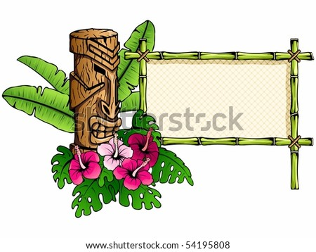 Colorful, detailed hawaiian banner with tiki statue. Can be used without inked outline (Eps10); jpg version also available - stock vector