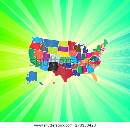 Colorful & Detailed Map of The United States with Background - stock vector