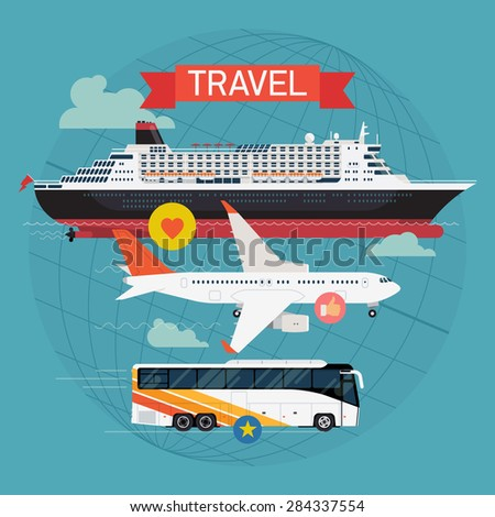 Colorful detailed visual on travel with transatlantic cruiser ship, jet airliner and coach bus | Transport vehicles and vessels on travel and vacation | Travel by sea, roads and sky - stock vector