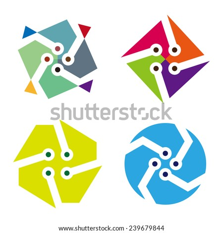 Colorful digital icon set. Abstract round and square logo element. You can use in the machine, chips, electronics, and communication concept of pattern. - stock vector