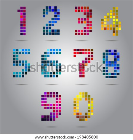 colorful digital numbers set. - stock vector