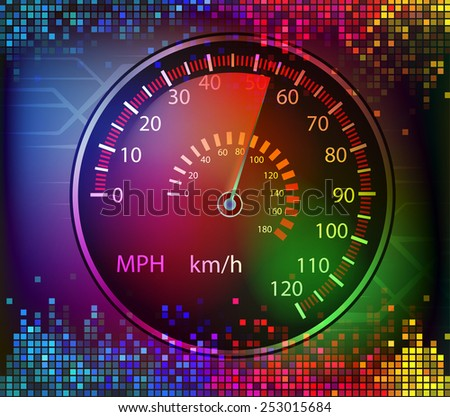 colorful digital sound and car speedometer background vector - stock vector