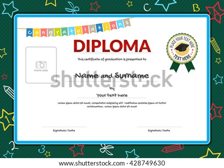 Colorful diploma certificate for kids on green chalk board with kids elements background , graduation caps ribbon seal and photo space - stock vector