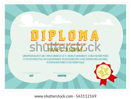 Colorful diploma certificate layout template school stock vector colorful diploma certificate layout template for school preschool and kindergarten isolated background design yadclub Gallery