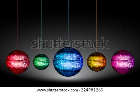 Colorful Disco ball on black background. - stock vector