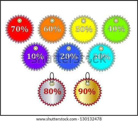 Colorful discount labels. - stock vector