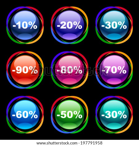 Colorful discount labels 3 - stock vector