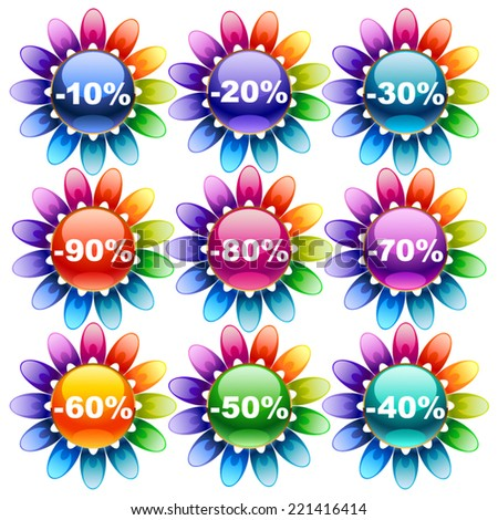 Colorful discount labels - stock vector