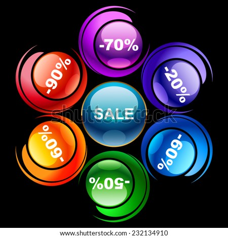 Colorful discount labels 2 - stock vector