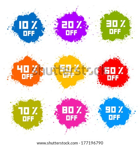 Colorful Discount Labels, Stains, Splashes - stock vector