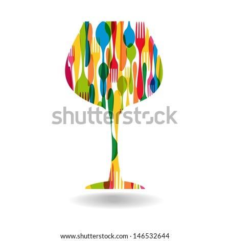 Colorful dishware wine cup shape . This illustration is layered for easy manipulation and custom coloring - stock vector