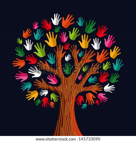Colorful diversity tree hands illustration. Vector illustration layered for easy manipulation and custom coloring. - stock vector