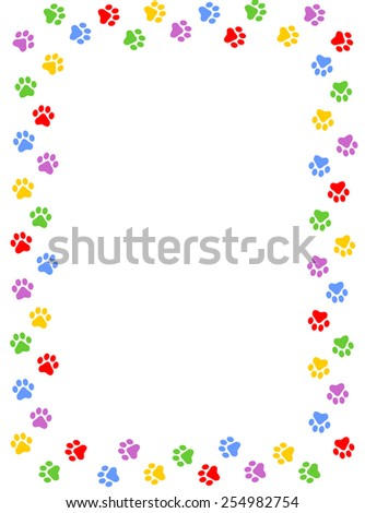 Colorful dog paw print frame / border on white background - stock vector