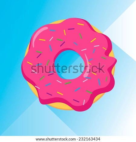 Colorful donut with sprinkles, flat design vector image whit long shadow. Blue background and pink sugary frosting. - stock vector