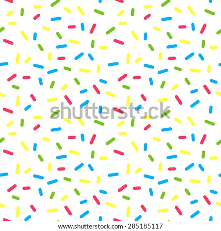 Colorful Donuts Glaze Seamless Pattern with Sprinkle Topping. Vector Bakery Texture. Abstract Food Decoration.